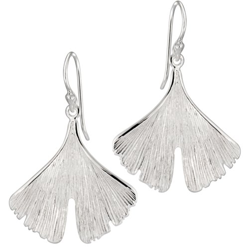 Vinani Ohrhänger Gingko Blatt mattiert glänzend Sterling Silber 925 Baum Ohrringe OGI