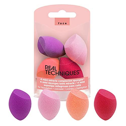 Real Techniques Liquidificador de maquiagem Mini Miracle Complexion Sponge, conjunto de 4 esponjas de beleza