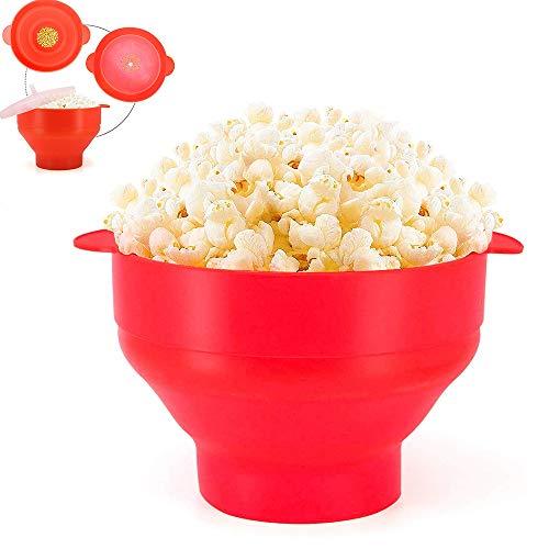 Silikon-Bowl-Mikrowellen-Popcorn Popper zusammenklappbarer Popcorn Maker Toxin einfach zu bedienen und zusammenklappbare platzsparendes Design BPA-frei und Spülmaschinenfest,Rot