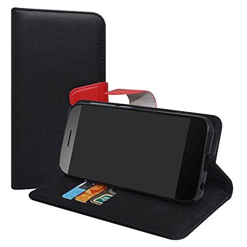 LiuShan Vodafone Smart E8 Hülle, Brieftasche Handyhülle Schutzhülle PU Leder mit Kartenfächer & Standfunktion für Vodafone Smart E8 Smartphone (mit 4in1 Geschenk verpackt),Schwarz