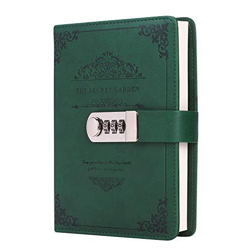 Cuaderno vintage a rayas, planificador, bloc de notas de poliuretano, tapa dura, con contraseña, portátil, bloc de notas, diario de viaje