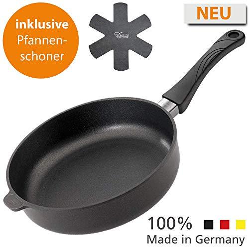 Eurolux Premium Brat-Pfanne aus Aluminium-Guss – Made in Germany, Induktions-Pfanne mit Stiel-Griff und extra Pfannen-Schoner, für Induktion geeignet, 28 cm Durchmesser, 7 cm hoch, schwarz, rund