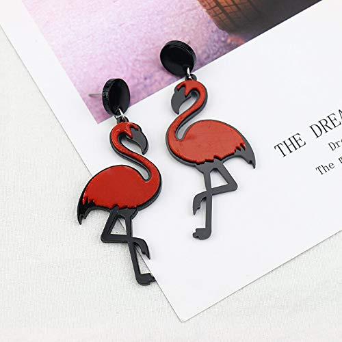 ZSCZQ Pendientes Colgantes de Loros flamencos acrílicos Grandes a la Moda para Mujer, Pendientes Largos Colgantes de pájaros, joyería de Fiesta Brincos para Mujer, Rojo
