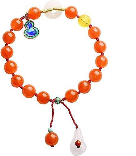Gymqian Lucky Bracelet Southern Red Agate Bracelet Hetian Jade Safe Buckle Cloisonne Hu Lu Pendant Flower Tassel Pendant Woven Bracelet Adjustable Vintage Style Amulet Daily wear