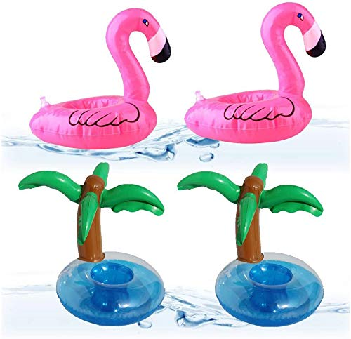 LEZED 4 Stück Aufblasbare Pool Coasters Getränkehalter,Aufblasbares Flaschenhalter,aufblasbare Getränke Halter für Summer Pool Party Deko,Badespielzeug Saft Becherhalter (2 Flamingo+2 Palm)