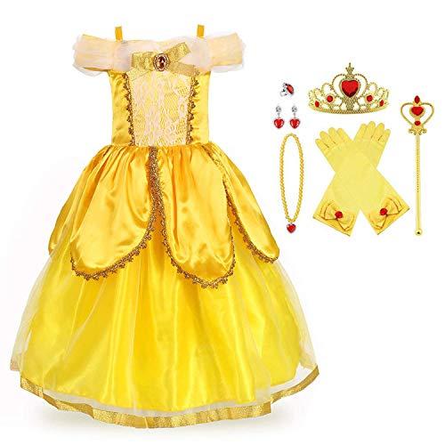 URAQT Bella Disfraz, Niñas Bella, Niña Princesa Belle, Niña Princesa Belle Disfraz, Princesa Belle Vestido, para Halloween Navidad Fiesta Cosplay Costume para Niñas Chicas 3-8 Años 120CM