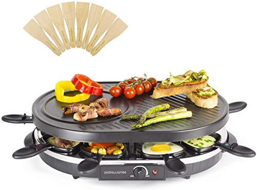 Andrew James 8 Person Traditional Raclette Grill with 8 Pans & Spatulas |...