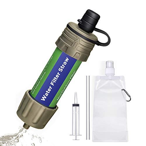 Depuratore Acqua Portatile SGODDE, Purificatore D'acqua di Sopravvivenza, Filtro a Paglia Personale da 5000 Litri con Siringa in Plastica, Lavabile e Riutilizzabile, Elimina Batteri e Protozoi (Verde)