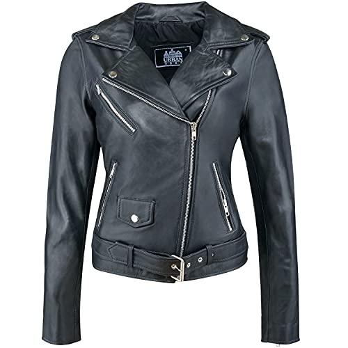 Urban Leather Damen Jacke Biker Perfecto Ladies, Schwarz, Große : M, UR-131