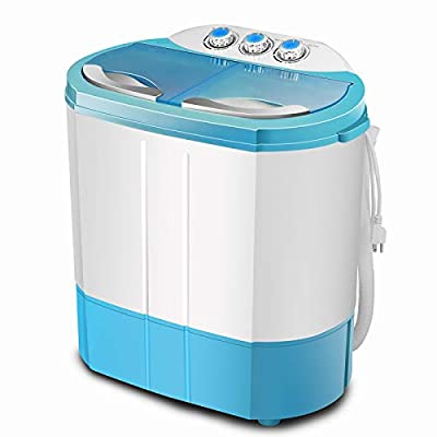 Portable Twin Tub Washing Machine 4.5 KG Total Capacity Washer And Spin Dryer Combo Compact For Camping Dorms Apartments College Rooms 2.5 KG Washer 2 KG Drying Blue&White