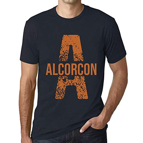 One in the City Hombre Camiseta Vintage T-Shirt Letter A Countries and Cities Alcorcon Marine