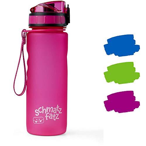 schmatzfatz auslaufsichere Sport Trinkflasche Kinder, BPA frei, 500ml, Fruchteinsatz, 1-klick Verschluss, Kinder Trinkflasche für Schule Kindergarten (Lila)