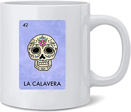 N\A La Calavera Día de los Muertos Sugar Skull Parodia de la lotería Mexicana Taza de café de cerámica Tazas de café Taza de té Regalo Divertido y novedoso