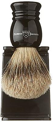 Edwin Jagger Super Badger Shaving Brush with Drip Stand - Medium, Imitation Ebony