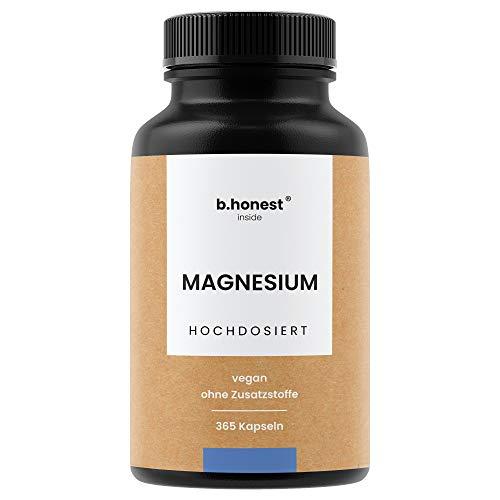 Natürliche Magnesium Kapseln - EINFÜHRUNGSPREIS - Hochdosiert, 365 Kapseln für 12 Monate - 664mg, davon 400mg reines (elementares) Magnesium pro Kapsel - Vegan, laborgeprüft