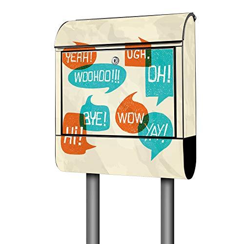 Banjado Design Briefkasten mit Motiv Wow   Stahl pulverbeschichtet mit Zeitungsrolle   Größe 39x47x14cm, 2 Schlüssel, A4 Einwurf, inkl. Montagematerial