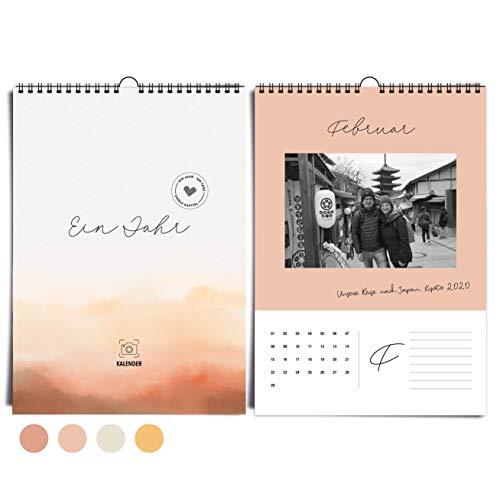 heaven+paper A4 Fotokalender immerwährend, jahresunabhängig ohne Jahr zum selbstgestalten   Wandkalender Desert Mood in warmen Gelb und Rosatönen, modern & elegant   ideal zum verschenken