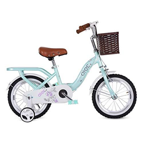 bicicleta Cochecito amortiguación montaña Chico Chica Road niño Que aprende Rueda Auxiliar (Color : Green, Size : 14inches)