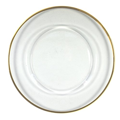 Charge it by Jay Round Glass Charger Plate with Gold Rim