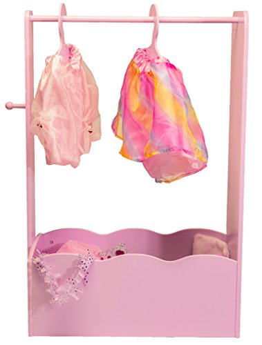 MMP Living Dress Up Center with Full Length Mirror, Knob and 3 Hangers - Pink, 3 feet Tall
