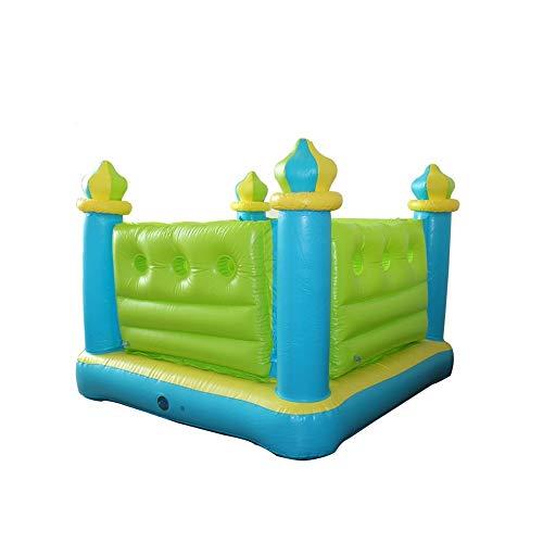 EXCLVEA Home Use Nylon Aufblasbare Hüpfburg Mini Bouncer Springen Hüpfburg mit Luftgebläse Hinterhof oder im Freien for Kinder Outdoor Hüpfburg (Farbe : Grün, Größe : 132x132x107cm)