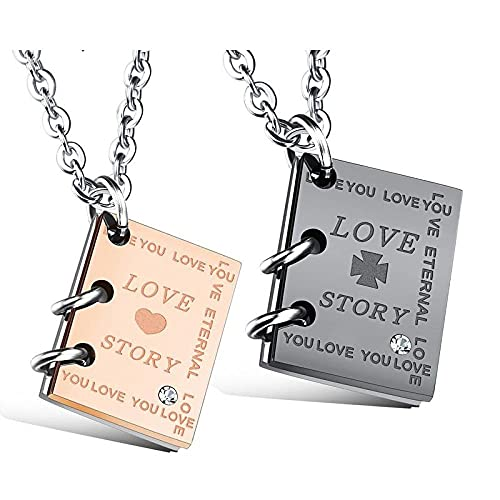 Collar con colgante Diy Carta de amor creativa Colgante Collar de pareja de acero de titanio con tachuelas de diamantes Hombres y mujeres Amigos Los regalos de cumpleaños se pueden grabar