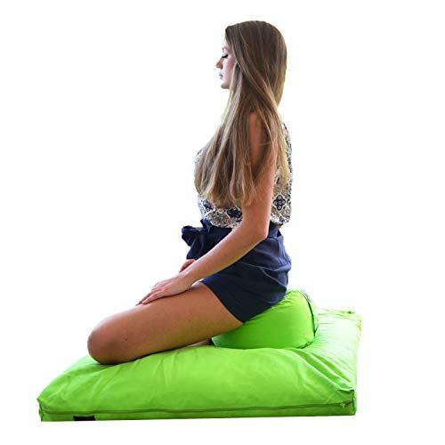 ॐ transparente Espíritu ® colchoneta de meditación ZABUTON ✔ durante más tiempo Medi Animales ✔ envuelve huesos y articulaciones ✔ Alforfón, verde manzana