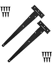 Chstarina 2 Piezas Bisagras en T Negro, Bisagras en T Galvanizadas para Puertas, Bisagras Resistentes para Puerta de Granero, Puerta de Cobertizo, Negro