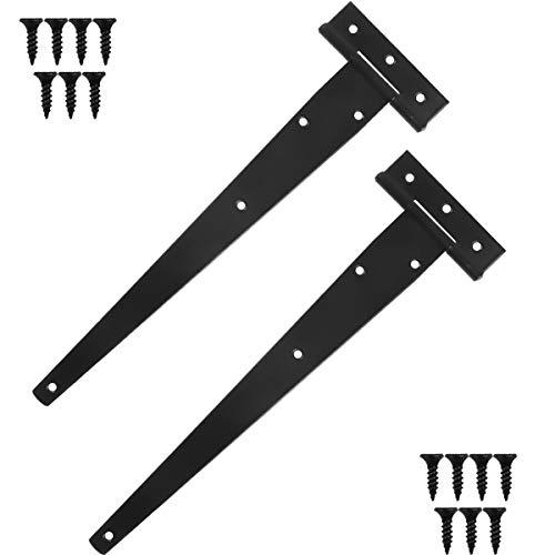 2 Pzs Bisagra en T Negra Triángulo Bisagra Bisagras de Metal Galvanizadas Granero Puerta Bisagras con Tornillos para Puertas de Cobertizo, Granero, Puertas de Jardín, Ventanas, 300 mm / 12 pulgadas