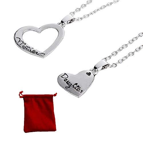 2 stuks hartvormige halsketting, moeder dochter ketting Moederliefde dubbel hart met een fluwelen zakje, sieraad beste cadeau voor mama, verjaardag, Moederdag, cadeau voor sieraden, accessoires
