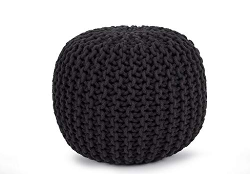 """Cotton Pouf, 16"""" x 16"""" x 16"""" Small size, Hand-Knit Decorative and Comfortable Foot Stool and Ottoman - Gray"""
