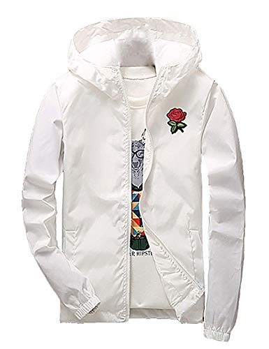 Rexcyril Men's Rose Floral Windbreaker Hooded Jacket Lightweight Solid Color Casual Full Zip Flower Coat Large White