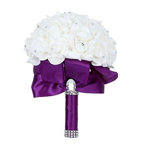Febou Wedding Bouquet Bridesmaid Bouquet, Bridal Bouquet Artificial Flowers for Wedding, Party and Church (Purple Big Size)