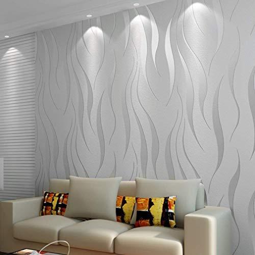 3D Wallpaper 10M Welle Luxus Beflockung Rolls Für Home Schlafzimmer Wohnzimmer Tapete Wandverkleidung Dekor Vlies minimalistischen Tapeten - Silber & Grau