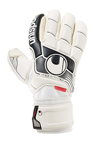 uhlsport Torwarthandschuhe Fangmaschine Absolutgrip Finger Surround, Weiß/Schwarz/Rot, 7