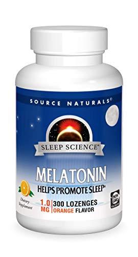 Source Naturals Sleep Science Melatonin 1 mg Orange Flavor  Helps Promote Sleep  300 Lozenge Tablets