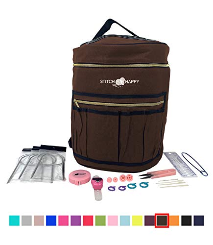 Designer Stitch Happy Knitting Starter Kit: 20 Piece Knitting Kit for Beginners & 7 Pocket Yarn Bag, Signature Yarn Storage - Chocolate