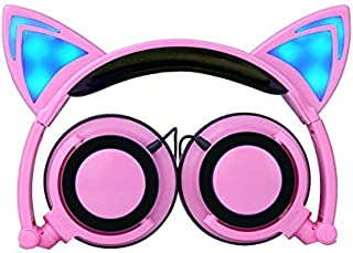 Cat Ear Headphones, Wired Foldable On Ear Headsets with LED Glowing Light 3.5mm Audio Jack Headset with Microphone for Kids