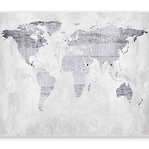 murando Fototapete Weltkarte 400x280 cm Vlies Tapeten Wandtapete XXL Moderne Wanddeko Design Wand Dekoration Wohnzimmer Schlafzimmer Büro Flur Betonoptik k-A-0015-a-b