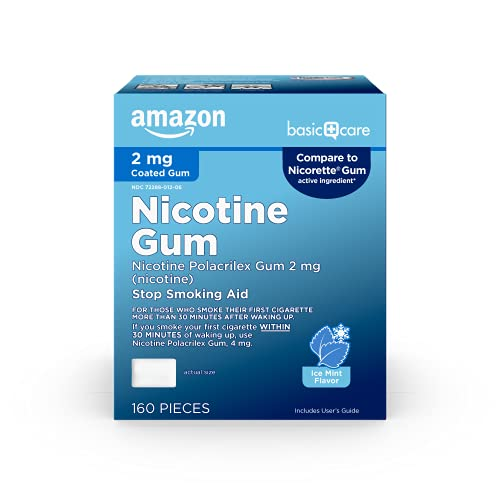 Basic Care Coated Nicotine Polacrilex Gum 2 Mg (Nicotine), Ice Mint Flavor, Stop Smoking Aid, 160Count
