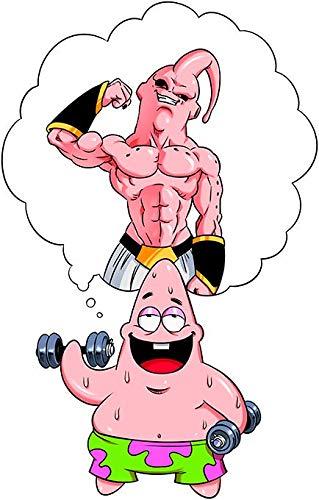 T-Shirt Noir Dragon Ball Z - Bob l'éponge parodique Patrick l'étoile de mer et Boubou : Nouvel abonné à la Salle de Musculation : (Parodie Dragon Ball Z - Bob l'éponge)
