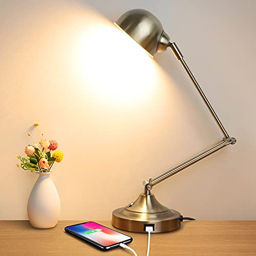 3-Color in 1 LED Desk Lamp with USB Charging Port, Swing Arm, Fully Dimmable, Eye-Caring Task Lamp, Touch Control Brass Metal Architect Drafting Table...