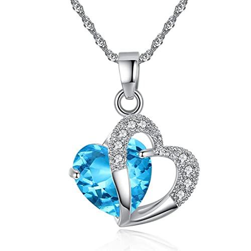 MIKUAU Collar Collar para Mujer, Collar Caliente, Collar con Colgante de corazón de Moda para Mujer de Primera Clase, joyería de Cristal, joyería para niñas y Mujeres