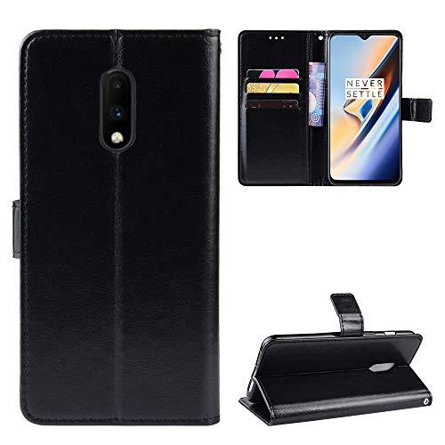 Snow Color OnePlus 7 / 6T Hülle, Premium Leder Tasche Flip Wallet Case [Standfunktion] [Kartenfächern] PU-Leder Schutzhülle Brieftasche Handyhülle für OnePlus7 / Oneplus6T - COBYU030987 Schwarz