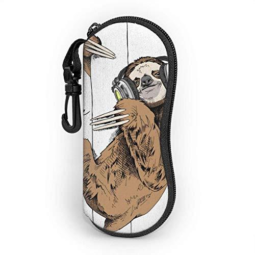 Ives Jean Sonnenbrillenetui Pfotenabdrücke von Tieren und Vögeln Light Neopren Reißverschluss Brillenetui für Frauen Männer Reisen