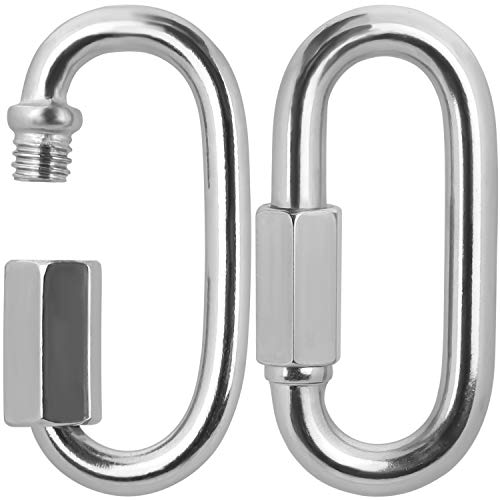 BELLE VOUS Stainless Steel Screw Quick Link M12 Carabiner Chain Connectors 2 Pack 106cm417 inch Heavy Duty Oval D Shape Locking Clips for OutdoorsIndoors Camping Hiking Accessories