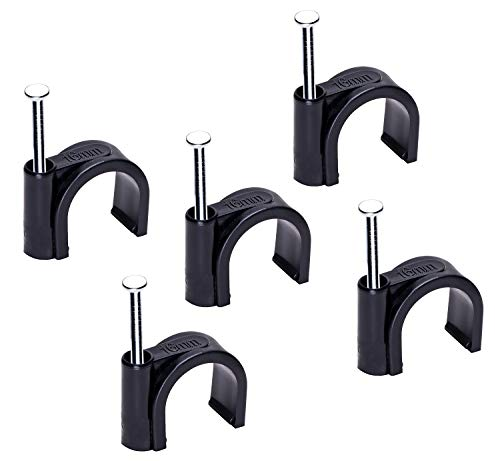 Mini Skater 16mm Nylon Steel Nail in Circle Ethernet Cable Clips Cord Holder Wire Management,Pack of 50.(Black)