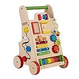 KiddyMoon Andador Madera Con Panel Sensorial Para Bebés WK-002, Multicolor