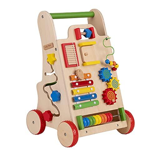 KiddyMoon Lauflernwagen Holz Lauflernhilfe Spaß für Kinder Multifunktion WK-002, Mehrfarbig