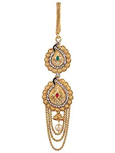 Archi Collection Fashion Jewellery Traditional Gold Plated Kundan Stone Chabi Challa Waist Key Chain for Women and Girls